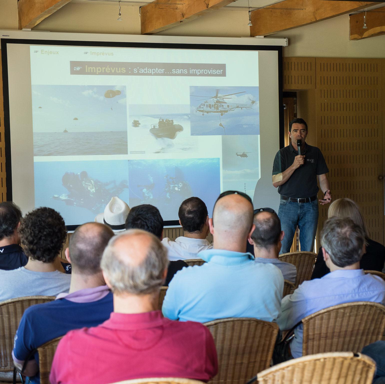 Conférence formation professionnelle opérations spéciales teambuilding équipe dirigeants leadership Pegasus Lorient