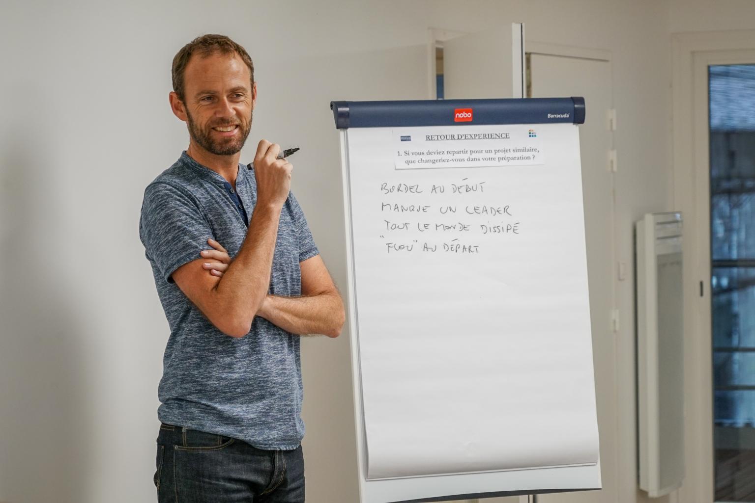 Homme devant un tableau paperboard réunion débrief RETEX Retour d'expérience teambuilding management coaching