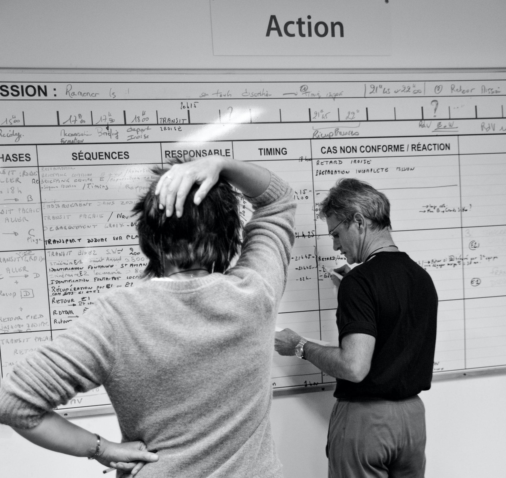Équipe devant tableau action brainstorming réunion meeting team management manager Pegasus Leadership